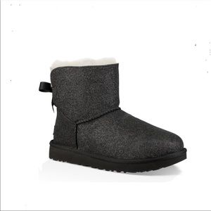 Ugg Black Glitter Mini Bailey Bow Ankle Boots 7